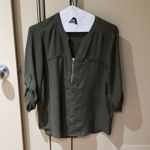 Army green top with gold details